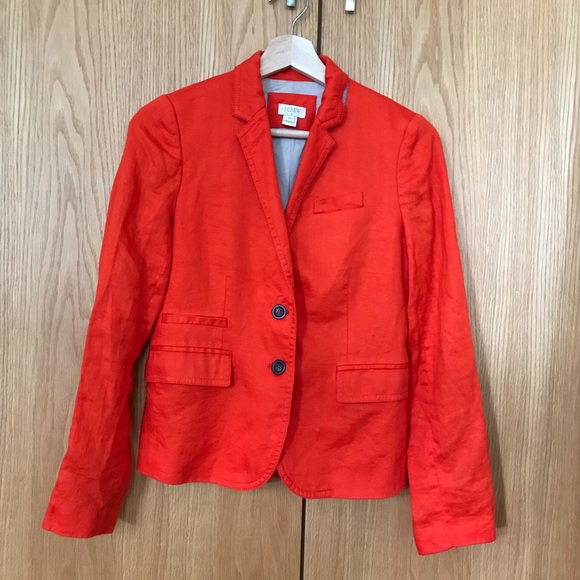 J. Crew Jackets & Blazers - J. Crew Bright Orange Linen Blazer
